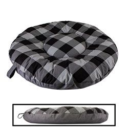 shop MEDIUM Round Bizzy Beds® Dog Bed -- Buffalo Black / Black Two-Tone