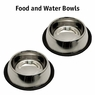 Stainless Steel 32 oz No-Tip Food and Water Bowls