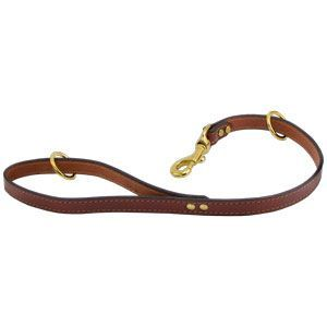 Chestnut Leather Short Lead Training Leash Lunge Lead Personalised Brass Snap