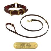 shop K-9 Komfort Premium Deluxe 3/4 in. x 6 ft. Leash and 1 in. Center Ring Collar -- Sunset Harness Leather Skirting with Maroon Buffalo Liner
