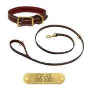 shop K-9 Komfort Premium Deluxe 3/4 in. x 6 ft. Leash and 1 in. Standard Collar -- Sunset Harness Leather Skirting with Maroon Buffalo Liner