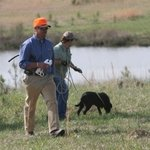 shop Ronnie and Attendee working with Live Birds for Retrieves