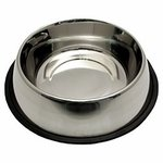 """shop SAVE 20%! -- """"Scratch & Dent"""" Medium Stainless Steel No-Tip Dog Food & Water Bowl #8303 -- approx 40 oz. -- CUT 5-7-2018"""