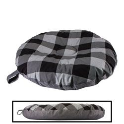 shop SMALL Round Bizzy Beds® Dog Bed -- Buffalo Black / Black Two-Tone