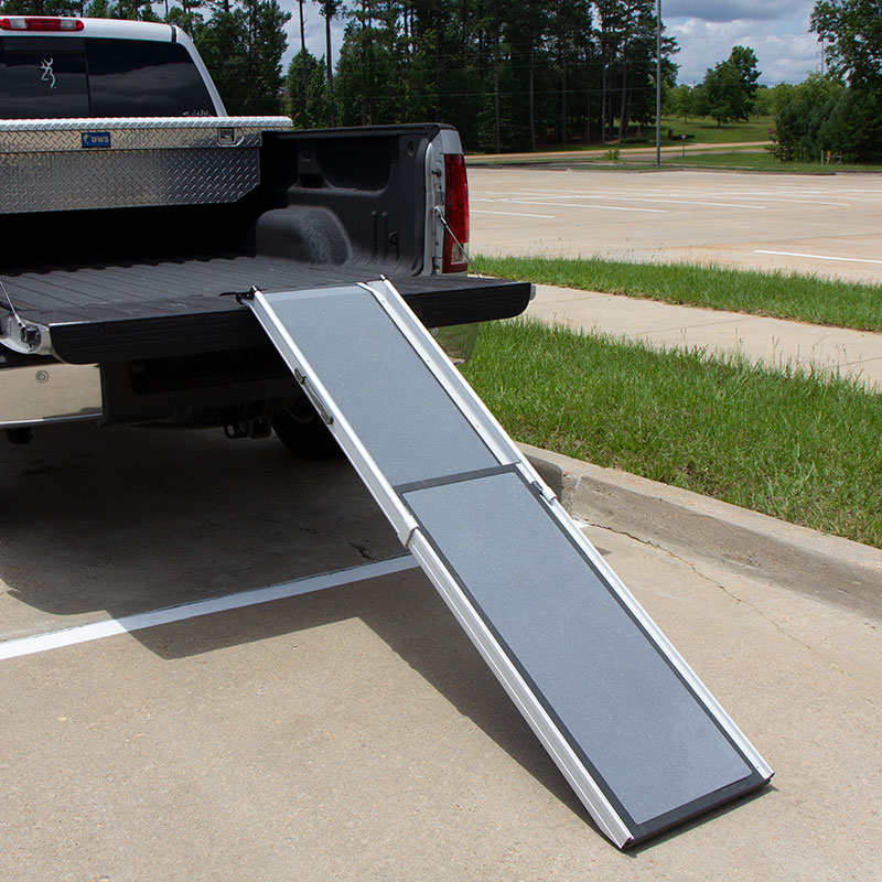 Deluxe Telescoping Pet Ramp in the Back of a Truck