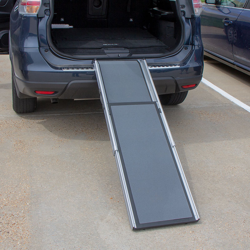 Telescoping Dog Ramp on the Back of an SUV