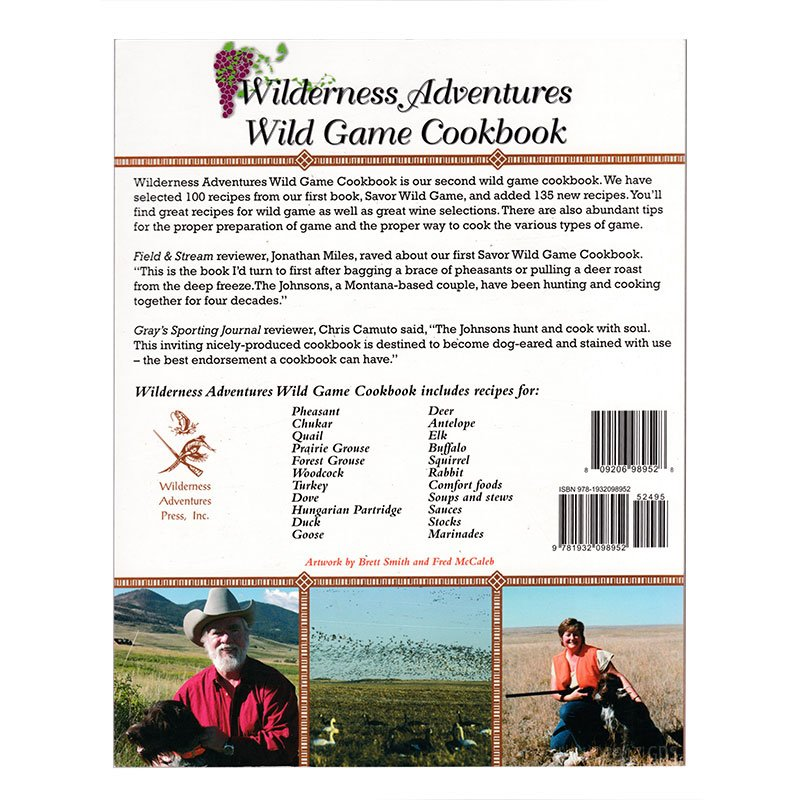 Wilderness Adventures Wild Game Cookbook back cover