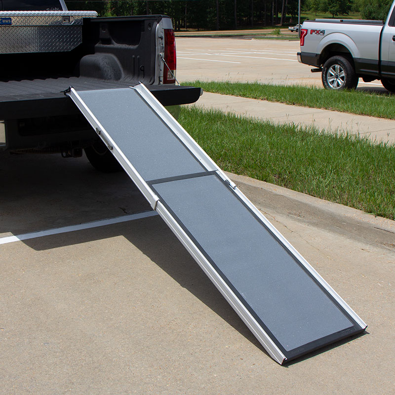 XL Deluxe Telescoping Pet Ramp on the Back of a Truck