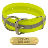 shop YELLOW 1-1/2 in. Beaded Reflective Dee-End Dog Collar