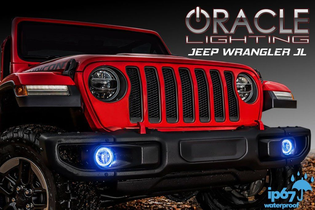 Halo Lights For Jeep Wrangler >> 2018 2019 Jeep Wrangler Jl Waterproof Exterior Led Fog Light Halo Kit By Oracle