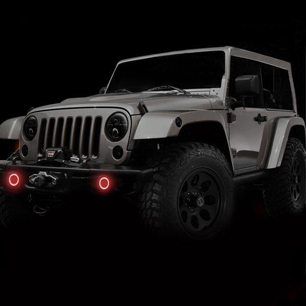 Halo Lights For Jeep Wrangler >> 2007 2017 Jeep Wrangler Waterproof Exterior Led Fog Light Halo Kit By Oracle