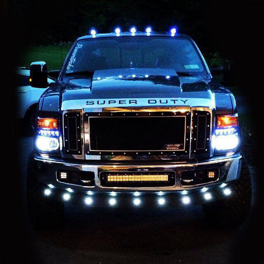 Lower Front Air Dam Light Kits By Recon Recon Universal Led Front Lower Air Dam Light Kit 9pcs Clear Lens White Leds