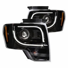 2013-2014 Ford F150 & Raptor (Models w/ Factory Projector Headlights) RECON  OLED Halo / DRL Projector Headlights Black