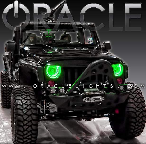 2007 2017 Jeep Wrangler Color Changing Led Headlight Halo Kit W 2 0 Remote By Oracle Lighting