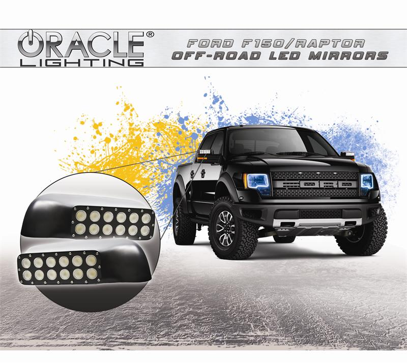 Pair 2009-2014 Ford F-150 F150 and Raptor LED Off Road Mirror Upgrade