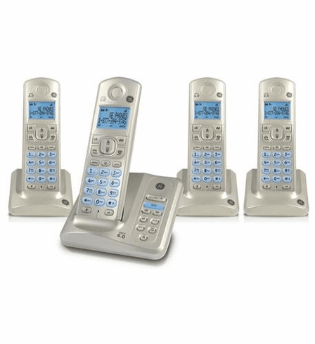 GE-28522AE4 Four Handset Cordless Phone-Silver