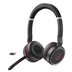 Jabra Evolve 75 Wireless Bluetooth Duo MS Headset with Active Noise Cancelling