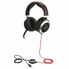 Jabra Evolve 80 Duo Headset with Active Noise Cancelling for Microsoft Lync