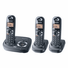 Panasonic KX-TG6423T DECT 6.0 Expandable Cordless Phone with Answering System and 3 Handsets