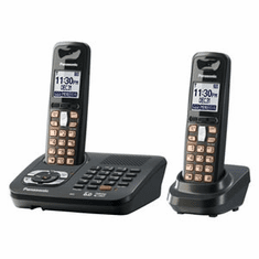 Panasonic KX-TG6442T DECT 6.0 Expandable Cordless Phone with Answering System and 2 Handsets