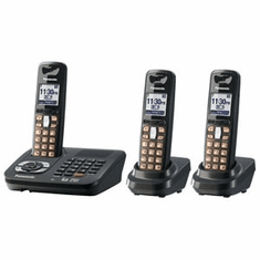 Panasonic KX-TG6443T DECT 6.0 Expandable Cordless Phone with Answering System and 3 Handsets