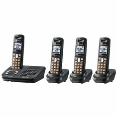 Panasonic KX-TG6444T DECT 6.0 Expandable Cordless Phone with Answering System and 4 Handsets