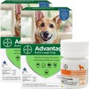 Advantage II Flea Control for Extra Large Dogs Over 55 lbs, 12 Month with Tape Dewormer 5 Tablets
