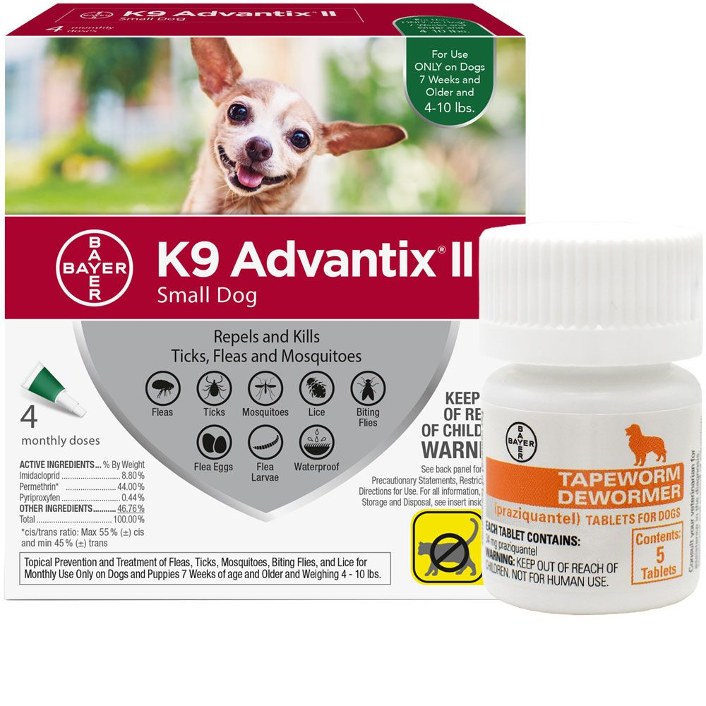 4 Month K9 Advantix Ii Green For Small Dogs Upto 10 Lbs Tapeworm