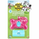 Bags on Board Waste Pick-Up Dispenser & Refill Bags - Pink Marble Bone (30 bags)