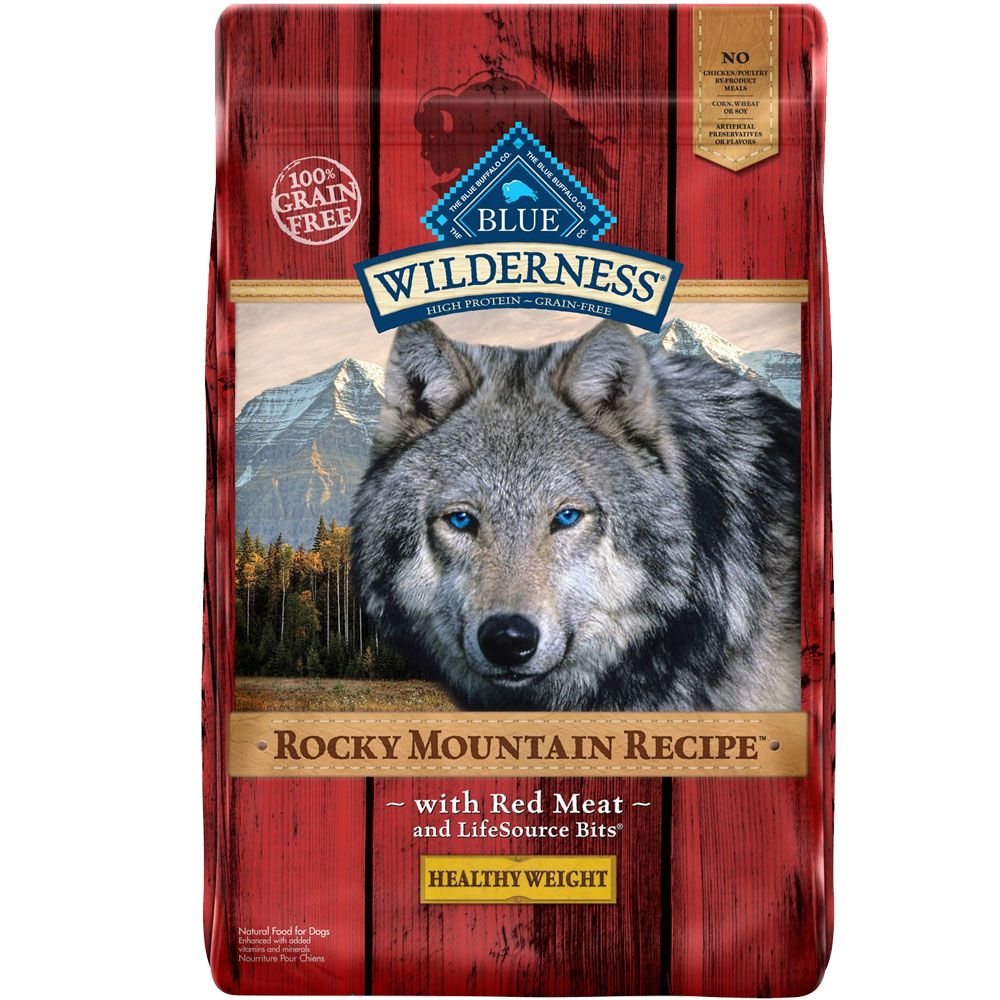 Blue Buffalo Wilderness Rocky Mountain Recipe - Healthy Weight Red Meat Recipe Dry Dog Food (22 ...