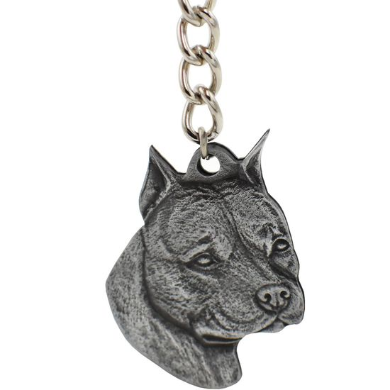 "Dog Breed Keychain USA Pewter - American Staffordshire Terrier (2.5"")"