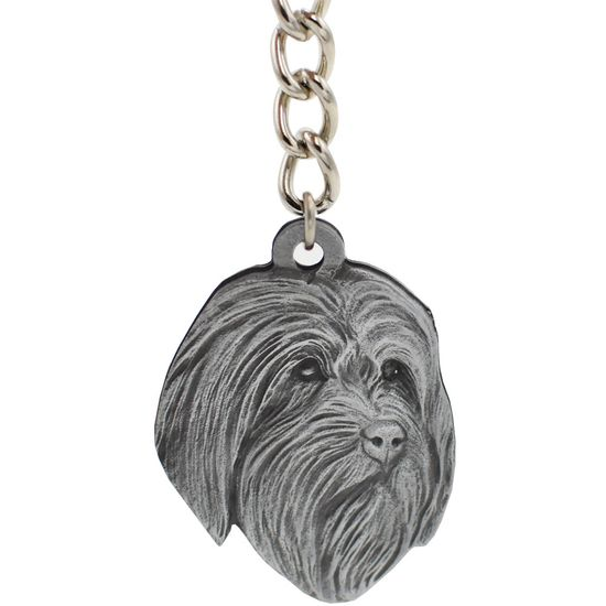 """Dog Breed Keychain USA Pewter - Bearded Collie (2.5"""")"""