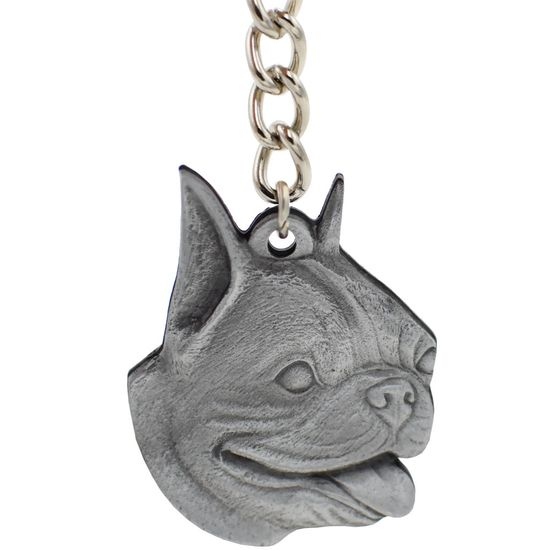 "Dog Breed Keychain USA Pewter - Boston Terrier (2.5"")"