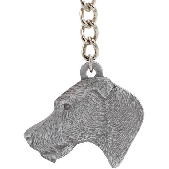"Dog Breed Keychain USA Pewter - Irish Wolfhound (2.5"")"