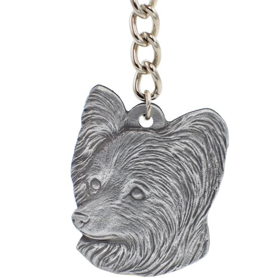 "Dog Breed Keychain USA Pewter - Papillon (2.5"")"