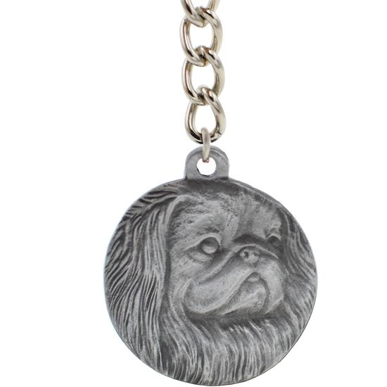 "Dog Breed Keychain USA Pewter - Pekingese (2.5"")"
