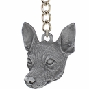 "Dog Breed Keychain USA Pewter - Rat Terrier (2.5"")"
