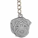 "Dog Breed Keychain USA Pewter - Shar Pei (2.5"")"