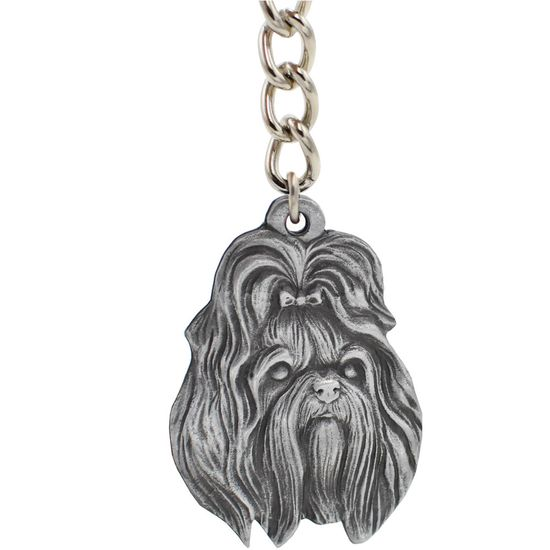"Dog Breed Keychain USA Pewter - Shih Tzu (2.5"")"