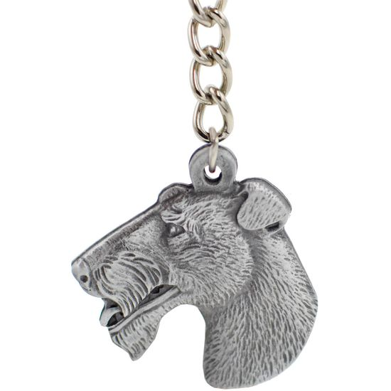 """Dog Breed Keychain USA Pewter - Wirehaired Fox Terrier (2.5"""")"""