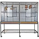 """Double Flight Bird Cage with Divider - Black (64""""x21""""x65"""")"""