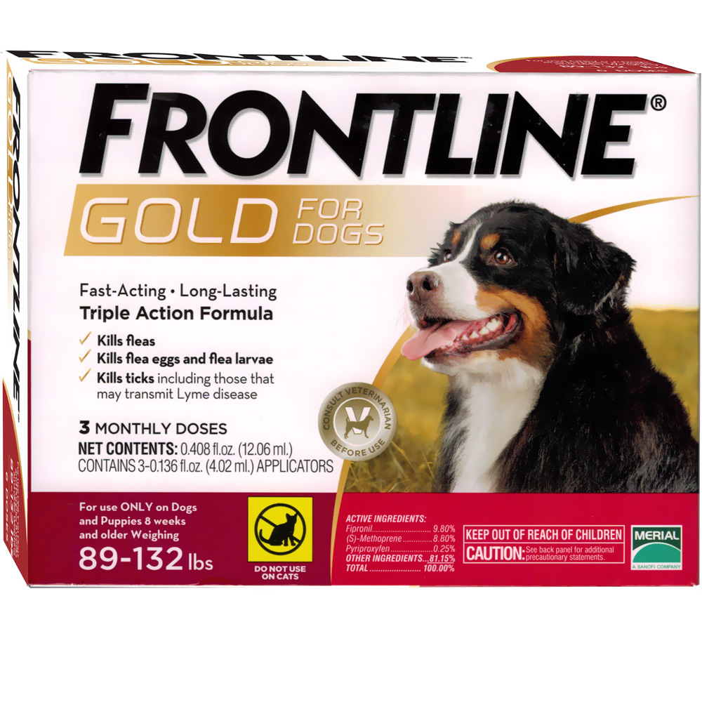 Frontline Gold For Dogs 89 132 Lbs Red 3 Month