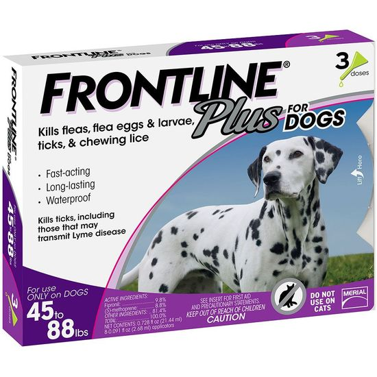 Frontline Plus for Dogs 45-88 lbs, 3 Month