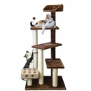 FurHaven Cat Furniture Play Stairs with Cat-IQ Busy Box - Brown