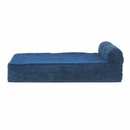 FurHaven Cooling Gel Top Chaise Lounge Sofa-Style Pet Bed - Navy Blue (Medium)