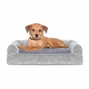 FurHaven Faux Fur & Velvet Pillow Sofa Pet Bed - Smoke Gray (Small)