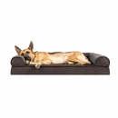 FurHaven Memory Top Sofa Pet Bed Faux Fleece & Chenille - Coffee (Jumbo)