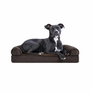 FurHaven Memory Top Sofa Pet Bed Faux Fleece & Chenille - Coffee (Medium)