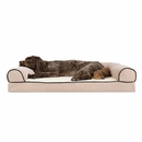 FurHaven Memory Top Sofa Pet Bed Faux Fleece & Chenille - Cream (Large)