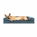 FurHaven Memory Top Sofa Pet Bed Faux Fleece & Chenille - Orion Blue (Jumbo)